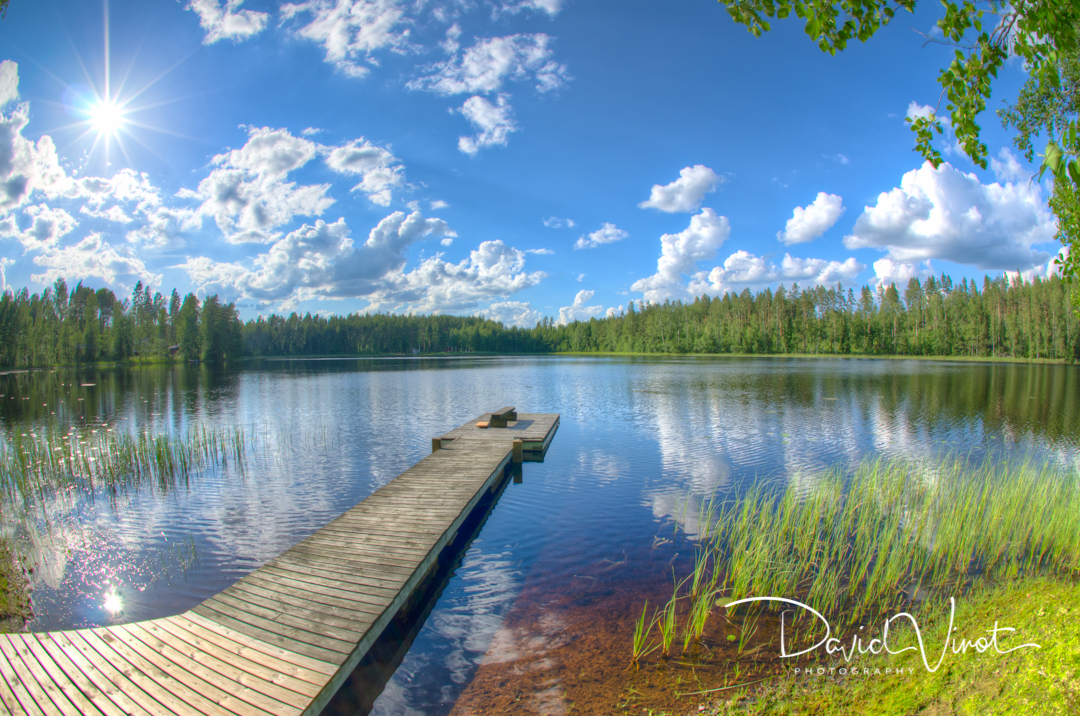 Wooden pier on a Finnish lake